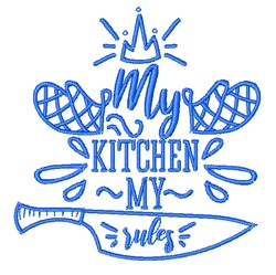 My Kitchen My Rules Outline embroidery design