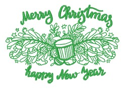Merry Christmas Happy New Year embroidery design