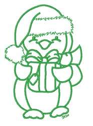 Christmas Penguin & Gift embroidery design