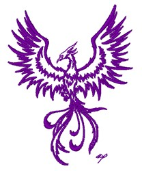 Phoenix Outline embroidery design