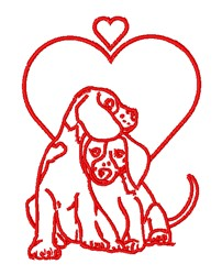 Puppy Love Outline embroidery design