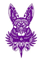 Tribal Rabbits Head Outline embroidery design