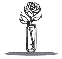 Vase & Rose Outline embroidery design