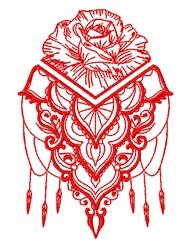 Decorative Rose Outline embroidery design