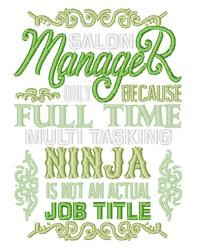 Salon Manager Ninja embroidery design