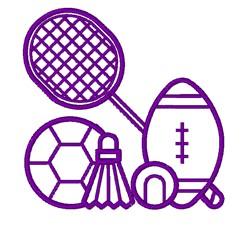 Multi-Sport Outline embroidery design