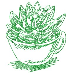 Succulent Outline embroidery design