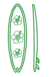 Hibiscus Surfboard Outline embroidery design