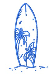 Palm Tree Surfboard Outline embroidery design