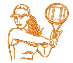 Tennis Player Outline embroidery design