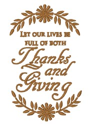 Thanks & Giving embroidery design