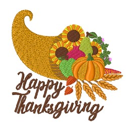 Happy Thanksgiving Cornucopia embroidery design