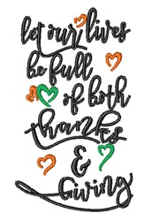 Let Our Lives Be Full embroidery design