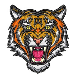Growling Tiger Mascot embroidery design