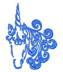 Swirly Unicorn Outline embroidery design