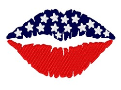 American Flags Lips embroidery design