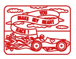 Valentines Race Car Outline embroidery design