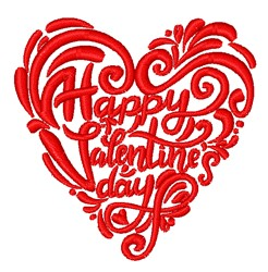 Happy Valentines Day Heart embroidery design