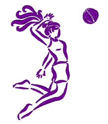 Volleyball Spike Outline embroidery design