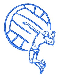 Volleyball Player Outline embroidery design
