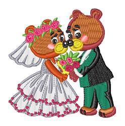 Kawaii Bears Wedding Couple embroidery design