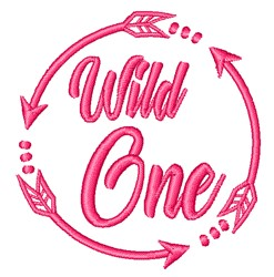 Pink Wild One embroidery design