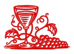 Wine & Grapes Outline embroidery design