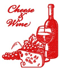 Cheese & Wine embroidery design