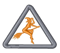 Warning Witch Crossing embroidery design