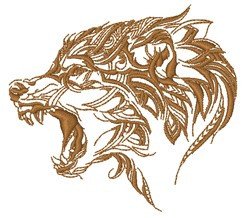 Snarling Wolf Outline embroidery design