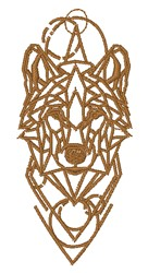 Geometric Wolf Outline embroidery design