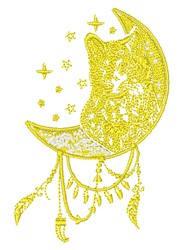Southwestern Wolf & Moon embroidery design