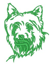 Realistic Westie Head Outline embroidery design