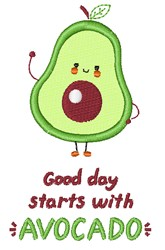Start With Avocado embroidery design
