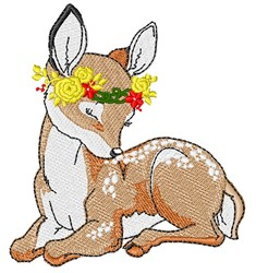 Fawn & Flowers embroidery design