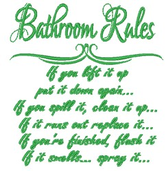 Bathroom Rules embroidery design