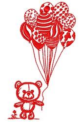 Teddy & Balloons embroidery design