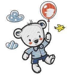 Teddy & Balloon embroidery design