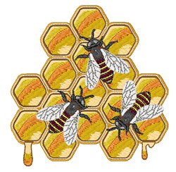 Honey Bee Hive embroidery design