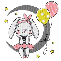 Bunny On Moon embroidery design