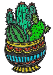 Potted Cactus embroidery design