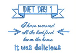 Diet Day 1 embroidery design