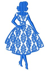 Woman In Dress embroidery design