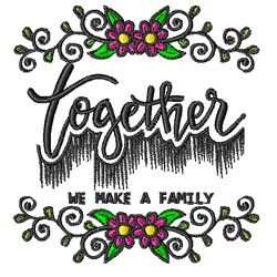Together A Family embroidery design