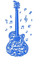 Musical Guitar embroidery design