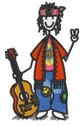 Hippy Guitarist embroidery design