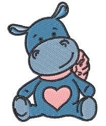 Love Hippo embroidery design