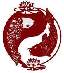 Yin Yang Koi embroidery design