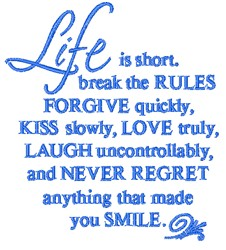 Life Is Short embroidery design