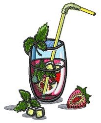 Strawberry Mint Drink embroidery design